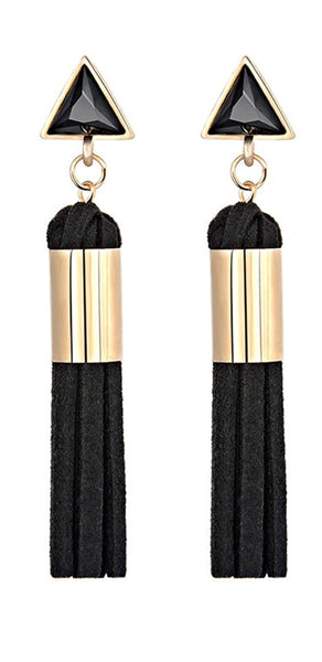 Triangle Stud Leather Tassel Duster Statement Earrings