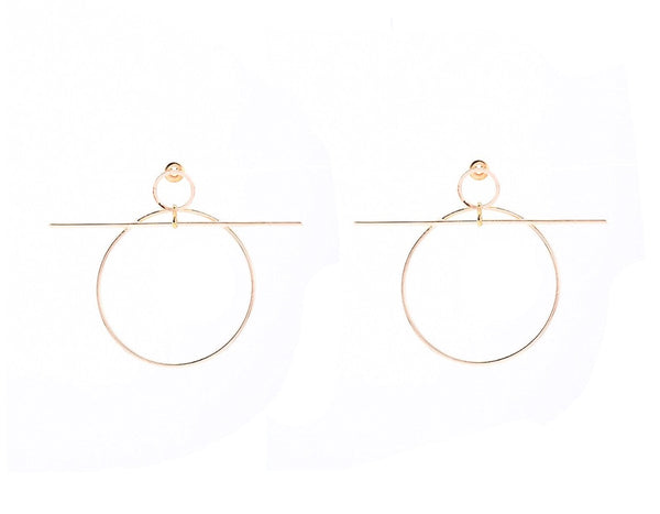 Geometric Round Pendant Hoop Earring - RDevine Fashion (Wedding & Bridal)