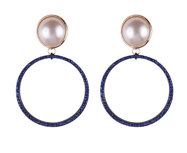 Faux Pearl Round Pendant Statement Earrings - RDevine Fashion (Wedding & Bridal)