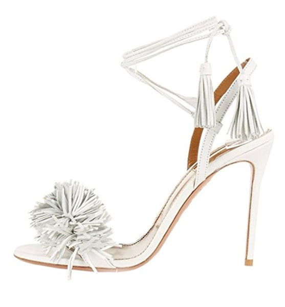 Lace-Up Tassel Open Toe Heels - RDevine Fashion (Wedding & Bridal)