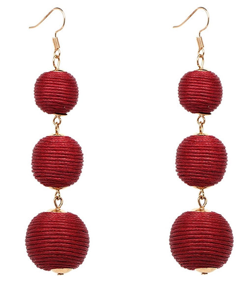 Thread Ball Drop Statement Earrings