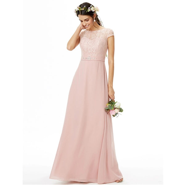 Bridesmaid Dress- Chiffon Floor Length Dress with Lace Bodice - RDevine Fashion (Wedding & Bridal)