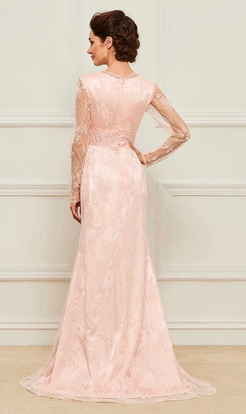 Mother of the Bride- Lace V-Neck Column Dress with Sheer Illusion Sleeves and Front Leg Split - RDevine Fashion (Wedding & Bridal)