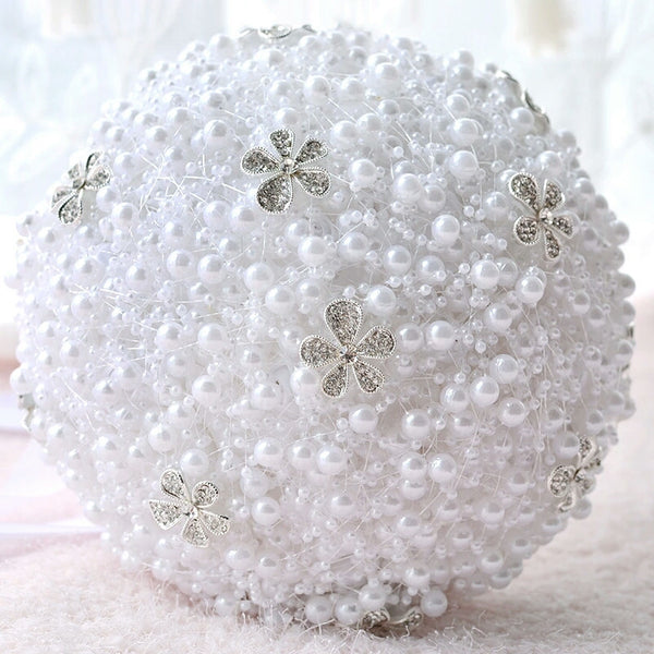Pearl Bouquet with Flower Rhinestone Brooch - RDevine Fashion (Wedding & Bridal)