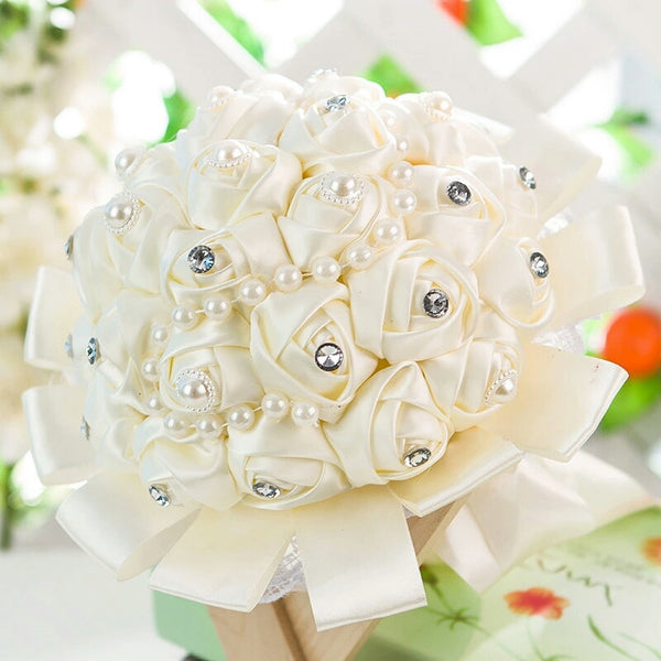 Satin Rose Wedding Bouquet with Crystal & Pearl Embellishment