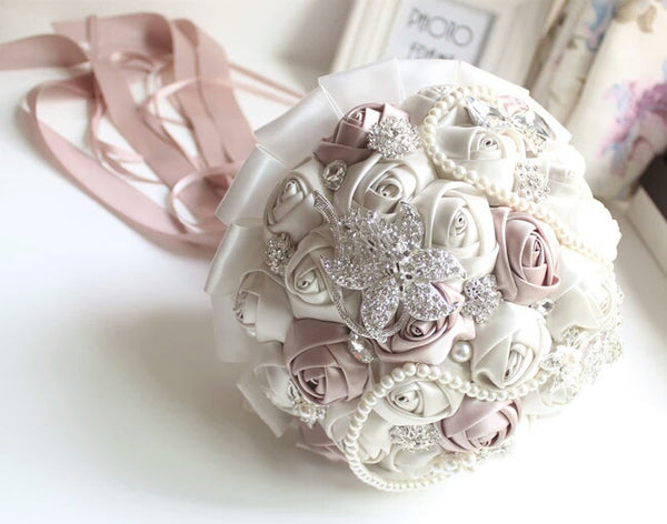 Satin Ivory and Blush Beige Wedding Bouquet with Pearl Strands & Rhinestone Brooches