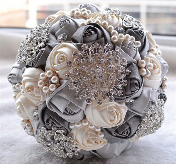Satin Rose Wedding Bouquet with Large Rhinestone Brooches & Smaller Pearl Flowers