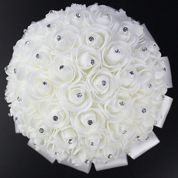 Real Silk Rose Wedding Bouquet with Rose Center Rhinestones