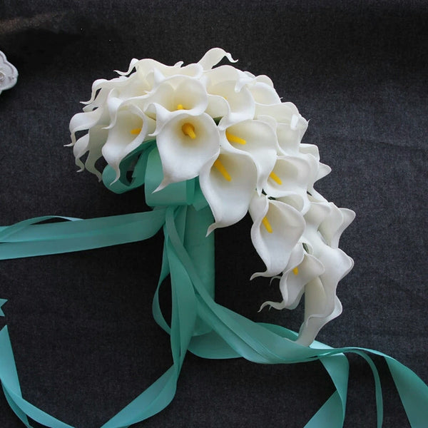 Real Touch Cascading Calla Lily Wedding Bouquet with Satin Wrapped Handle