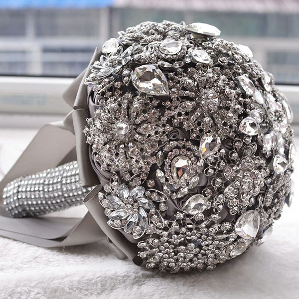Silver Crystal Rhinestone Brooch Bouquet with Rhinestone Embellished Handle