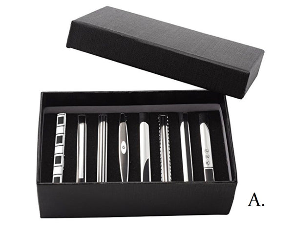 Stainless Steel 8-Piece Classic Tie Bar Tie Clip Set