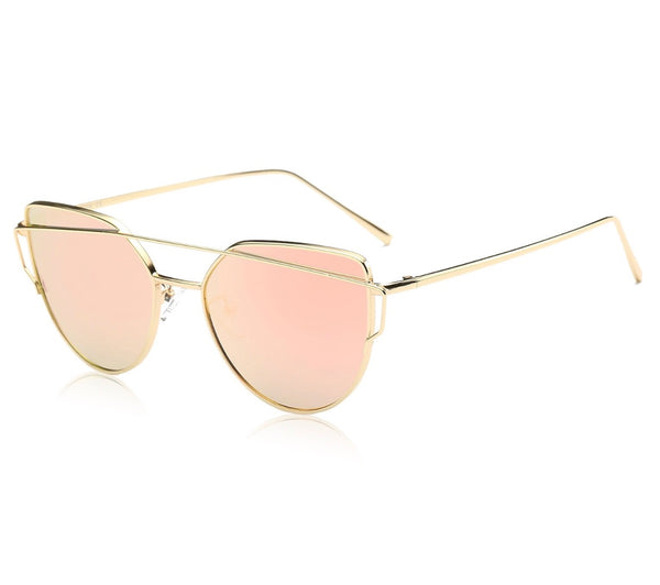Cat Eye Mirror Flat Lenses with Metal Frame - RDevine Fashion (Wedding & Bridal)