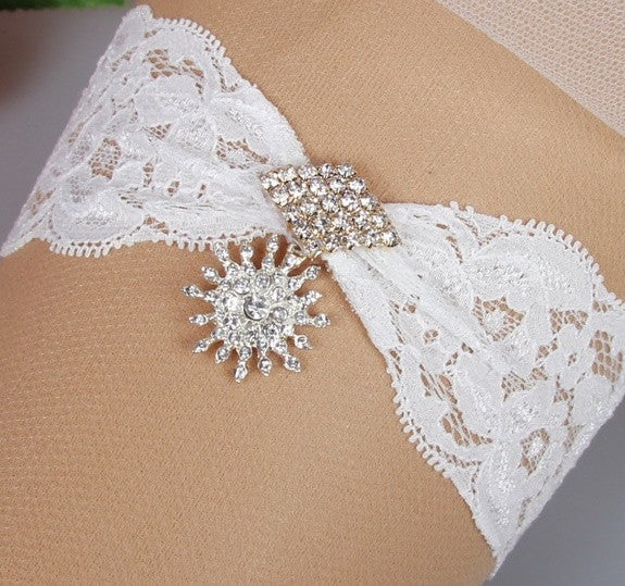 Pinched Lace Garter Belt with Dangling Crystal Embellishment - RDevine Fashion (Wedding & Bridal)