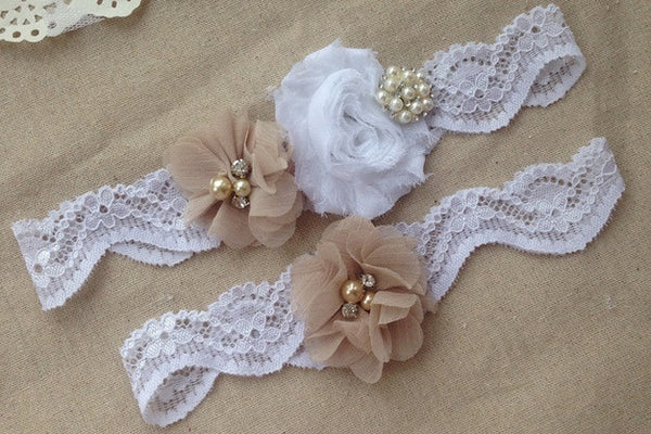 Rustic Lace Garter Set with Chiffon Rosettes & Pearl Embellishment