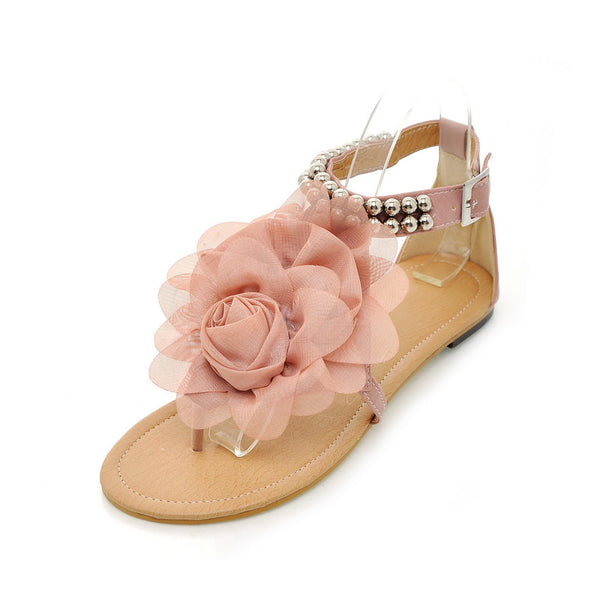 Blush Pink Flower Pom Gladiator Sandal