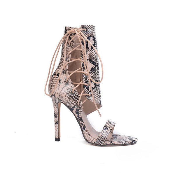 Lace Up Ankle Snake Skin Sandal Heel