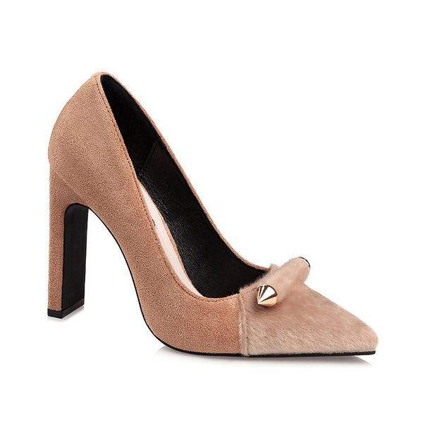 Pointed Toe Suede Pump with Fur Toe Detail
