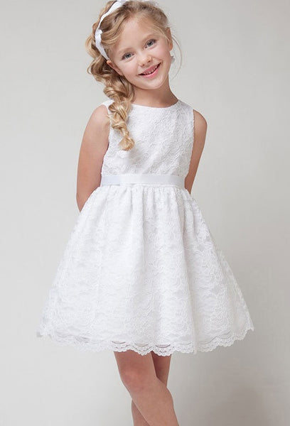 Lace Flower Girl Dress with Ribbon Detail - RDevine Fashion (Wedding & Bridal)