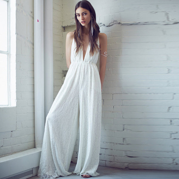 Bohemian Style Deep V Wide Leg Jumpsuit - RDevine Fashion (Wedding & Bridal)