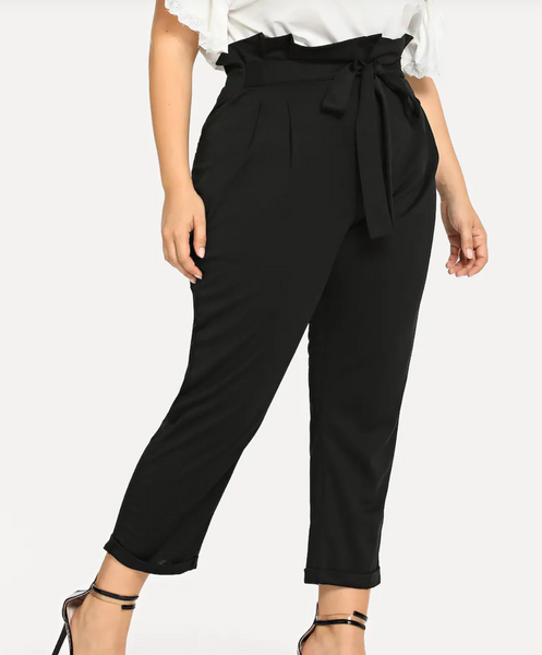 RD BOUGIE-Paper Bag Knot Waist Skinny Trousers