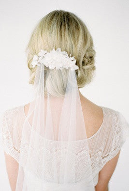 Ultra Fine Tulle Fingertip Wedding Veil with Hand-Beaded Lace Comb