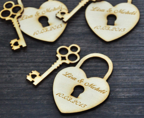 Custom Wooden Heart & Key Wedding Favor Tags