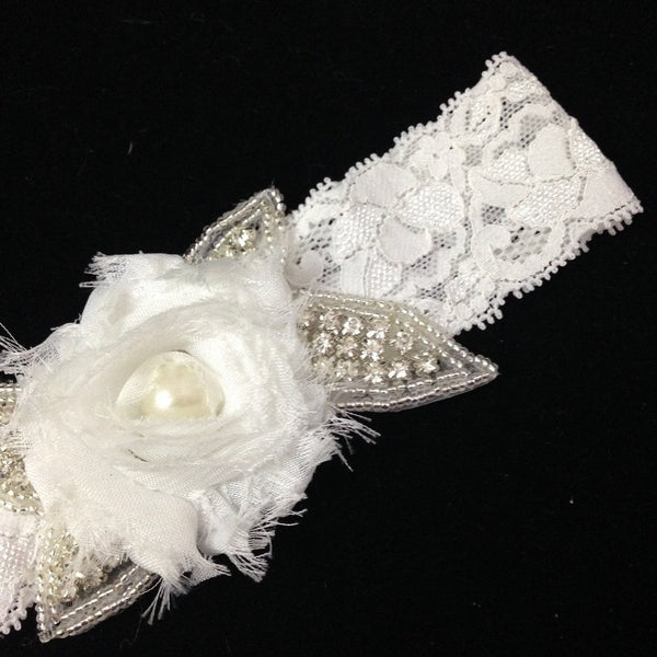 Vintage Lace Garter With Rhinestone Beaded Flower & Chiffon Rosette