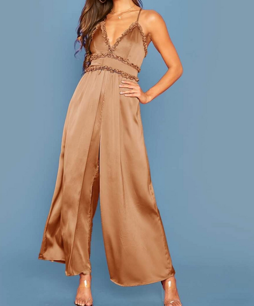 "RDevine Casual- The ""Horatia"" Frill Trim Criss-Cross Wide Leg Jumpsuit"