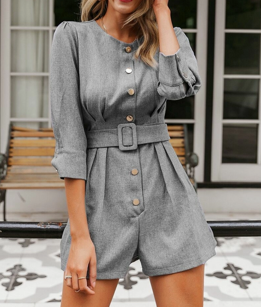 "RDevine Casual- The ""Cassia"" Solid Button Belted Romper"