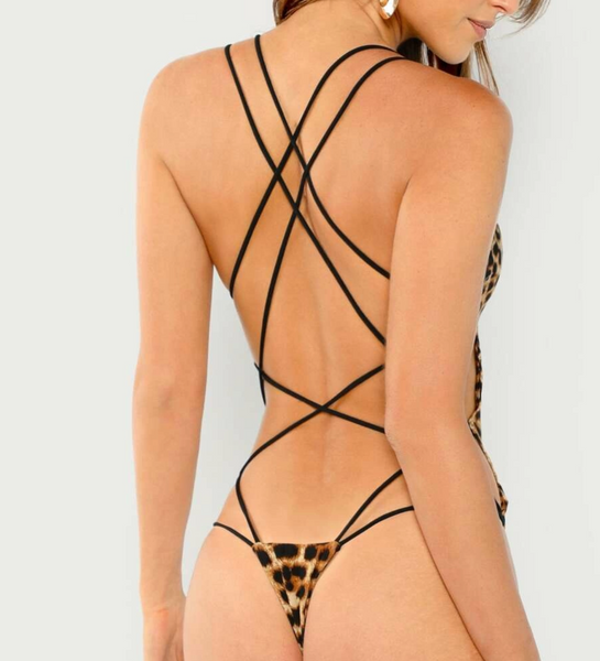 "RDevine Casual- The ""Call of the Wild"" Cheetah Print Strappy Thong Bodysuit"