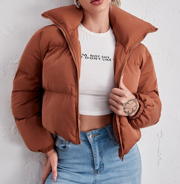 RDevine Casual- Cropped Zip Up Puffer Jacket