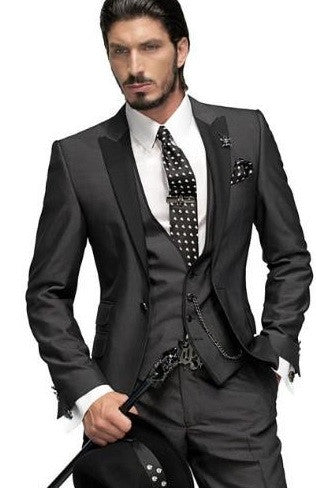 (MTM) Charcoal Gray Three Piece Suit