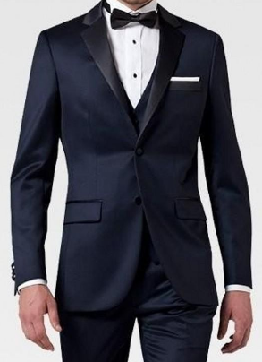 (MTM) Midnight Blue Satin Notch Lapel Two Piece Tuxedo - RDevine Fashion (Wedding & Bridal)