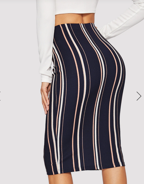 Pinstripe Bodycon Pencil Skirt