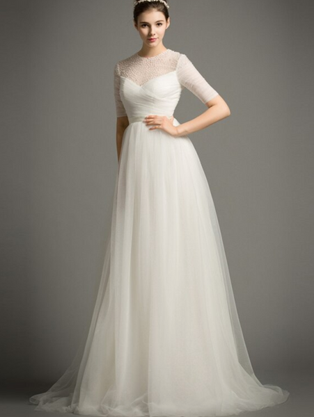 Tulle A Line Wedding Gown with Embellished Illusion Mesh Bodice