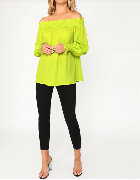 Chiffon Neon Lime Off-the-Shoulder Blouse