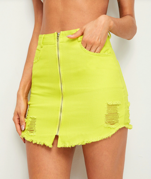Neon Yellow Zip-Up Denim Mini
