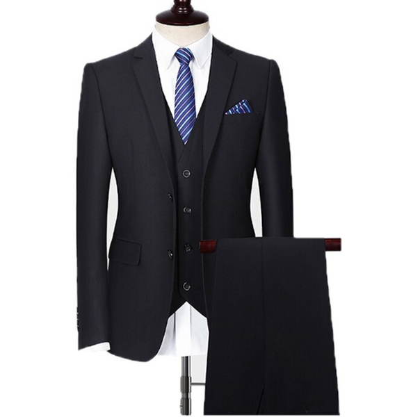 (MTM) Black Three-Piece Double Button Suit with Notched Lapel
