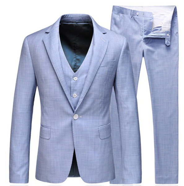 (MTM)Slim Fit Three-Piece Light Blue Summer Suit