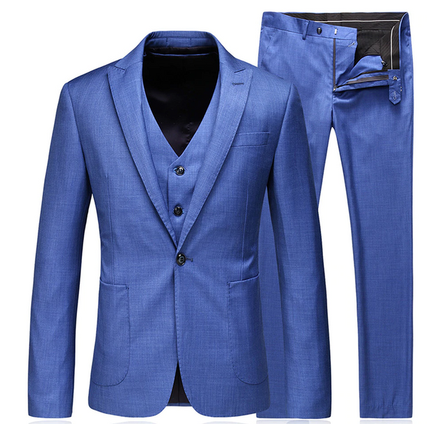 (MTM) Slim Fit Blue Single Button Three-Piece Suit