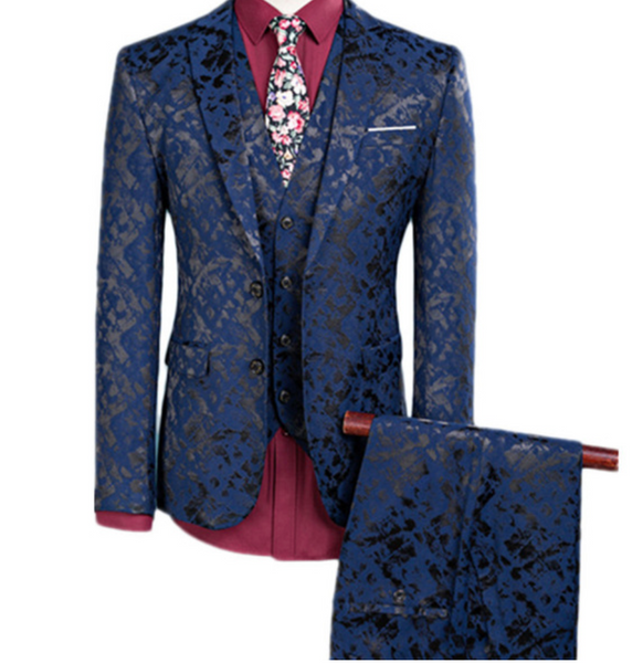 (MTM) Three-Piece Double Button Jacquard Suit