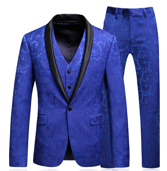 (MTM) Three Piece Royal Blue Jacquard Print Tuxedo with Satin Lapel