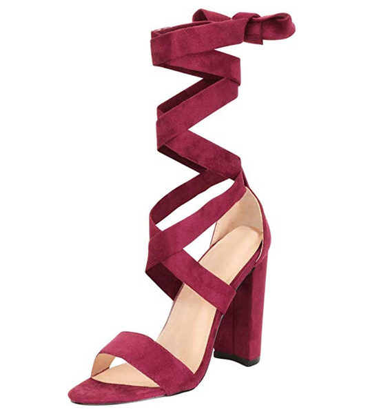 Burgundy Red Criss-Cross Ankle Tie Chunky Heel