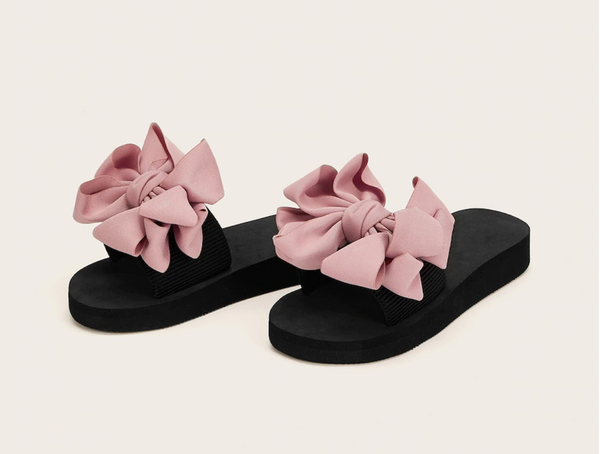 Dusty Rose Bow Slides