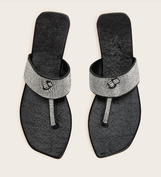 Rhinestone Thong Slide Sandals
