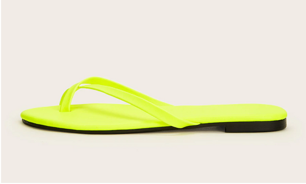 Glow Yellow Cross-Strap Flip Flop