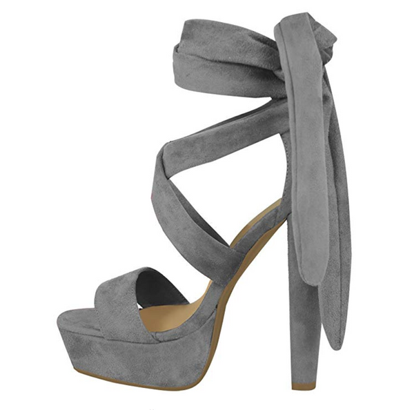 Tie-Up Block Platform Heels