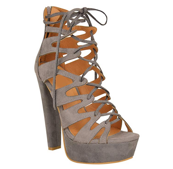 Platform Gladiator Heel with Front Lace Tie
