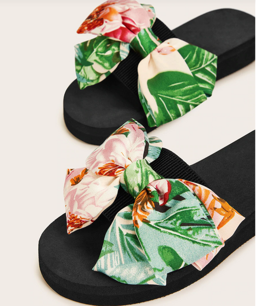 Jungle Print Oversized Bow Slide