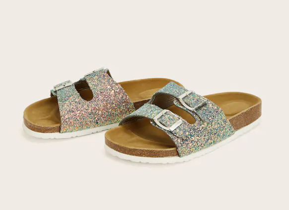 Silver Glitter Double Buckle Slides